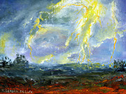 Thunder Paintings - Hand Painted Art Louisiana Storm by Lenora  De Lude