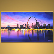 St. Louis Art Originals - Hand Painted Art Painting Oil On Canvas - St. Louis Arch at night by ALeong