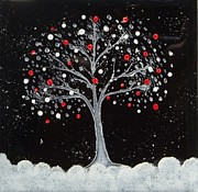 Winter Ceramics - Hand Painted Ceramic Tile by Joyce Kerr