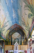 Painted Wood Prints - Hand Painted Church Interior Print by Linda Phelps