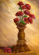 Still Life Paintings - Hand Painted Still Life Red Flowers Gold Vase by Lenora  De Lude
