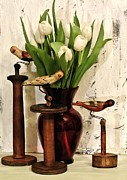 Floral Still Life Prints - Hand Painted Wood Birds and Bouquet of Tulips Print by Marsha Heiken