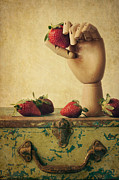 Strawberry Photo Framed Prints - Hand Picked Framed Print by Amy Weiss