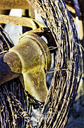 Old Water Pump Prints Prints - Hand Pump and Barbed Wire-Series 02 Print by David Allen Pierson
