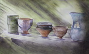 Sunlight On Pots Painting Metal Prints - Hand Thrown Metal Print by Patsy Sharpe
