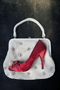 Red Shoe Prints - Handbag With Stiletto Print by Joana Kruse