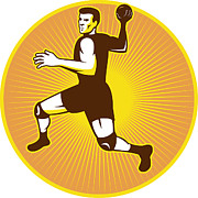 Player Prints - Handball Player Jumping Throwing Ball Scoring Retro Print by Aloysius Patrimonio