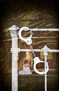 Frightened Framed Prints - Handcuffs On Bed Framed Print by Christopher and Amanda Elwell