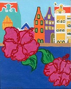 Netherlands Paintings - Handelskade with Red Flowers by Melissa Vijay Bharwani