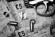Cash Money Framed Prints - Handgun On British Pounds Cash With Used 9mm Shells Framed Print by Joe Fox
