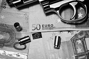Cash Money Prints - Handgun On Euros Cash With Used 9mm Shells Print by Joe Fox