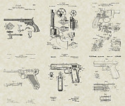 Technical Art Drawings Prints - Handguns Patent Collection Print by PatentsAsArt