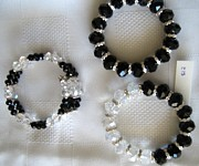 Buy Jewelry - Handmade Black White Crystal Braces by Fatima Pardhan