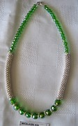 Buy Jewelry - Handmade Green and Silver Necklace by Fatima Pardhan