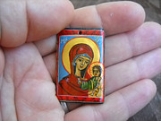 Hand Painted Jewelry - Handmade miniature icon Virgin Mary with child Jesus by Denise Clemenco