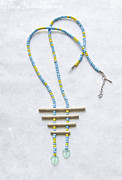 Beadwork Jewelry - Handmade Tribal Driftwood Necklace Blue Yellow Glass Beads by Diana Pavlova