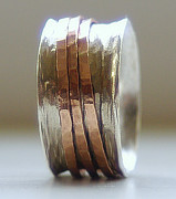 Engagement Jewelry Originals - Handmade Unique Wedding Ring Rustic Sterling Silver and 14k rose gold fill wide spinner ring by Nadina Giurgiu