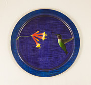 Hummingbird Sculpture Posters - Handmade Wood Airbrushed Hummingbird and Honeysuckle Charger Poster by Debra Breton