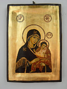 Original Icons Framed Prints - Handpainted orthodox holy icon Madonna with child Jesus Framed Print by Denise Clemenco
