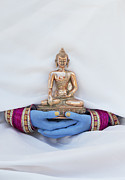 Buddha Photo Metal Prints - Hands holding Buddha Metal Print by Tim Gainey