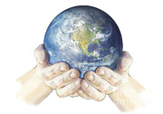 World Peace Art - Hands Holding Planet Earth Globe, White by Carlyn Iverson