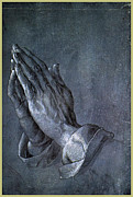 Hands Drawings Posters - Hands of an Apostle 1508 Poster by Albrecht Durer