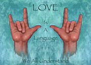 Universal Language Prints - Hands Signing Love Print by Joyce Geleynse