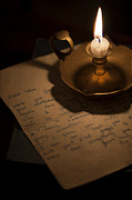 Candle Lit Prints - Handwritten Letter By Candle Light Print by Lee Avison