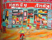 Store Window Display Paintings - Handy Andy Montreal Memories by Michael Litvack