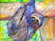 Sloth Metal Prints - Hang in There Metal Print by Debi Pople