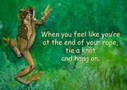 Amphibian Greeting Card Posters - Hang On Poster by Trish Tritz