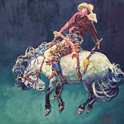 Cowboy Art Originals - Hang Time by Patricia A Griffin