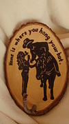 Cowboy Hat Pyrography Framed Prints - Hang Your Hat Rack Framed Print by Dakota Sage
