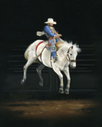 Rodeo Pastels Posters - Hangin On Poster by Karen Elkan