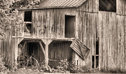 Wooden Barns Framed Prints - Hanging by a Moment BW Framed Print by JC Findley