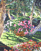 Gardenscape Paintings - Hanging Flower Basket by David Lloyd Glover