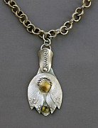 Peridot Jewelry - Hanging Lotus Pendant by Mirinda Kossoff