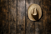 Barn Boards Prints - Hanging my Hat Print by Olivier Le Queinec