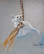 Cat Pastels - Hanging On by James Skiles