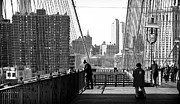 Brooklyn Bridge Prints - Hanging on the Brooklyn Bridge 1990s Print by John Rizzuto