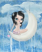 Lizzy Love Framed Prints - Hanging On The Moon Framed Print by Oddball Art Co by Lizzy Love
