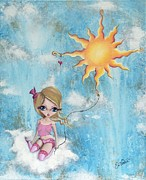 Celestial Painting Originals - Hanging On To The Sun by Oddball Art Co by Lizzy Love