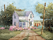 Red Farmhouse Prints - Hanging Out in Illinois by Joyce Hicks Print by Joyce Hicks