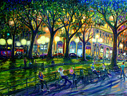 Washington Square Paintings - Hanging Out In Washington Square Park by Arthur Robins