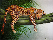 Cheetah Digital Art - Hanging Out by Jean R Brown