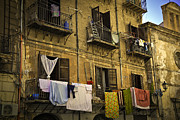 Old Building Framed Prints - Hanging out to dry in Palermo  Framed Print by Madeline Ellis
