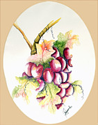 Grapevine Red Leaf Painting Posters - Hanging Round Poster by Tricia Gooch