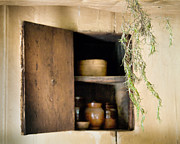 Cupboard Prints - Hanging spice and cupboard - Rosemary - Cottage Chic Print by Gary Heller