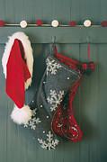 Sandra Cunningham - Hanging stockings and Santa hat on hook
