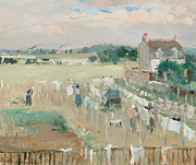Factories Paintings - Hanging the Laundry out to Dry by Berthe Morisot